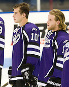 Scott Arnold (Niagara - 10), Ryan Murphy (Niagara - 11) - The visiting Niagara University Purple Eagles defeated the Northeastern University Huskies 4-1 on Friday, November 5, 2010, at Matthews Arena in Boston, Massachusetts.