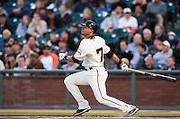 17 April 2009: San Francisco Giants' Emmanuel Burriss hits the ball during the San Francisco Giants' 2-0 win against the Arizona Diamondbacks at AT&T Park in San Francisco, CA.