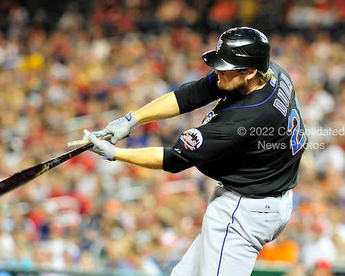 New York Mets right fielder Lucas Duda's (21) bat breaks apart in his hands as he grounds into a double play in the seventh inning against the Washington Nationals at Nationals Park in Washington, D.C. on Saturday, July 30, 2011.  The Nationals won the game 3 - 0..Credit: Ron Sachs / CNP.(RESTRICTION: NO New York or New Jersey Newspapers or newspapers within a 75 mile radius of New York City)