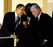 Washington, DC - March 8, 2009 -- United States President Barack Obama  and first lady Michelle Obama (C) join Senator Ted Kennedy (Democrat- Massachusetts) (R)  at a musical tribute to celebrate Kennedy's birthday at the Kennedy Center in Washington, DC., USA, on Sunday, 08 March 2009. .Credit: Chris Usher - Pool via CNP