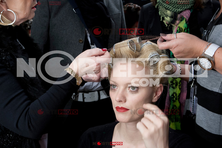 Model Franziska Knuppe gets prepared backstage prior to the STEPHAN PELGER FASHION SHOW during the Mercedes-Benz Fashion Week autumn/winter 2012 Berlin at Brandenburg Gate in Berlin, Germany, 21.01.2012...Credit: Poslada/face to face /MediaPunch Inc.