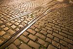 Tramway tracks on a cobblestone road, Dublin, Ireland