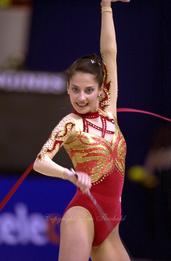 5 June 2000 - ZARAGOZA, SPAIN:  Elena Vitrichenko of Ukraine performs with ribbon at the 2000 Rhythmic Gymnastics European Championships in Zaragoza, Spain. Copyright 2000 by Tom Theobald