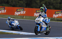 Pons Kalex Moto2 rider Pol Espargaro of Spain celebrates after winning the Australian Motorcycle GP in Phillip Island, Oct 20, 2013. Photo by Daniel Munoz/VIEWpress IMAGE RESTRICTED TO EDITORIAL USE ONLY- STRICTLY NO COMMERCIAL USE.