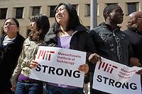 Sean Collier memorial - human chain - MIT News