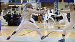12 February 2017: UNC's Jackie Litynski (left) and Northwestern's Cindy Oh (right) in Saber. The University of North Carolina Tar Heels played the Northwestern University Wildcats at Card Gym in Durham, North Carolina in a 2017 College Women's Fencing match. UNC won the dual match 15-12 overall, 5-4 Foil, 5-4 Epee, and 5-4 Saber.