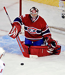 17 October 2009: Montreal Canadiens goaltender Carey Price keeps makes a stick block in the third period against the Ottawa Senators at the Bell Centre in Montreal, Quebec, Canada. The Senators defeated the Canadiens 3-1. Mandatory Credit: Ed Wolfstein Photo