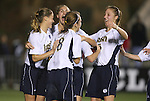 1 December 2006: Notre Dame players celebrate their second first half goal. The University of Notre Dame Fighting Irish defeated Florida State Seminoles 2-1 at SAS Stadium in Cary, North Carolina in an NCAA Division I Women's College Cup semifinal game.