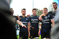 Bath Rugby players look on in a post-match huddle. European Rugby Challenge Cup Quarter Final, between Bath Rugby and CA Brive on April 1, 2017 at the Recreation Ground in Bath, England. Photo by: Patrick Khachfe / Onside Images