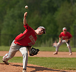 BEACON FALLS,  CT-051817JS29-Wolcott's Jack Drewry  (16) delivers a pitch during their game against Woodland Thursday at Woodland Regional High School in Beacon Falls. <br /> Jim Shannon Republican-American