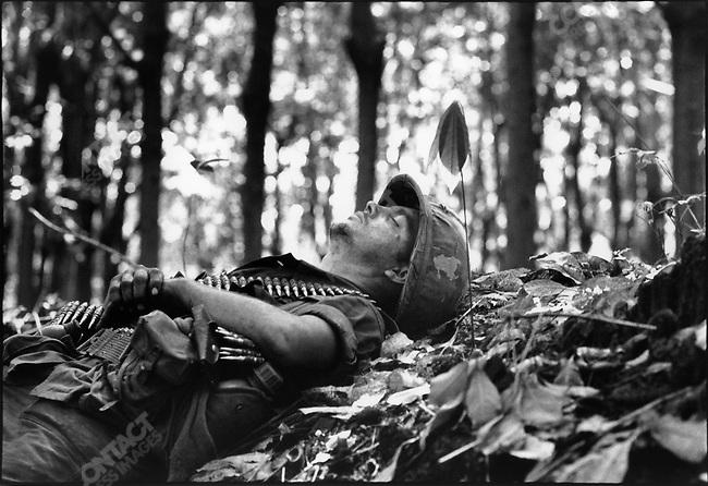 The Vietnam War, US soldier relaxing, South Vietnam, November 1967
