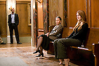 "8 May 2006 - North Bergen, NJ - French actress Leslie Caron (C) waits between takes with actress Lily Rabe (R) and extras on the studio set of television show ""Law & Order: SVU"" in North Bergen, USA, 8 May 2006. In this rare appearance in front of American television cameras, Caron, 74, plays a French victim of past sexual molestation in an episode entitled ""Recall"" due to air in the fall. Caron starred in Hollywood classics such as ""An American in Paris"" (1951), ""Lili"" (1953), ""Gigi"" (1958). More recently she appeared in ""Chocolat"" (2000) and ""Le Divorce"" (2003). Photo Credit: David Brabyn"