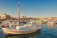 Boats in the port of Aegina island, Greece