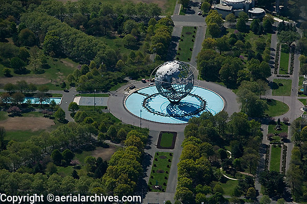 aerial photograph Unisphere Flushing Meadows Corona Park Queens New York