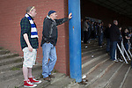 Queen of the South 2 Stranraer 0, 11/08/2015. Scottish Challenge Cup first round, Palmerston Park. Home supporters in the Portland Drive terrace end during the second-half at Palmerston Park, Dumfries, as Queen of the South (in blue) host Stranraer in a Scottish Challenge Cup first round match. The game was the opening match of the season in a competition open to sides below the Scottish Premiership. Queen of the South won the match 2-0, watched by a crowd of 1229 spectators. Photo by Colin McPherson.
