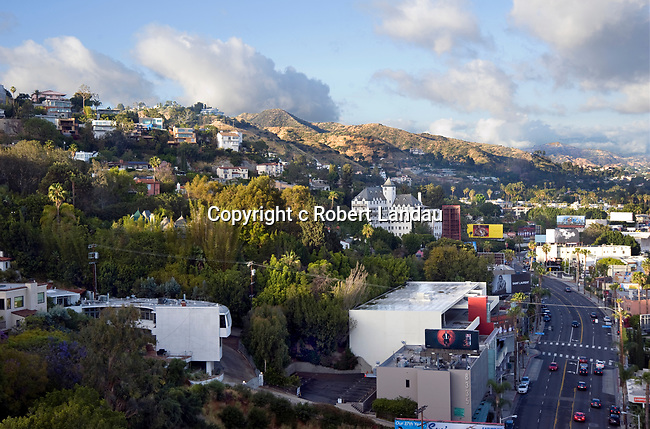 The Chateau Marmont in the Hollywood Hills above the Sunset Strip in West Hollywood nieghborhood of Los Angeles, CA