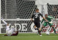 Danny Allsopp #9 of D.C. United bears down on Zach Thornton #22 of Chivas USA during an MLS match at RFK Stadium, on May 29 2010 in Washington DC. United won 3-2.