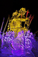 WHO COMES TO US WITH THE SWORD WILL DIE BY THE SWORD. Ivalie Cox Artist Choice Award, by Alexander Zaitsev Ivan Golubev, Valeriy Yurkevich, Vitaliy Lednev. Multi Block, 2003 World Ice Art Championships, Fairbanks Alaska.