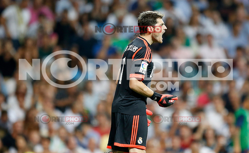 Real Madrid's Iker Casillas reacts during Super Cup match. August 29, 2012. (ALTERPHOTOS/Alvaro Hernandez). /NortePhoto.com<br />