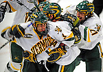 9 January 2009: University of Vermont Catamounts' forward Brian Roloff, a Junior from West Seneca, NY, celebrates the third period tying goal during the first game of a weekend series against the Boston College Eagles at Gutterson Fieldhouse in Burlington, Vermont. The Catamounts scored with one second remaining in regulation time to earn a 3-3 tie with the visiting Eagles. Mandatory Photo Credit: Ed Wolfstein Photo