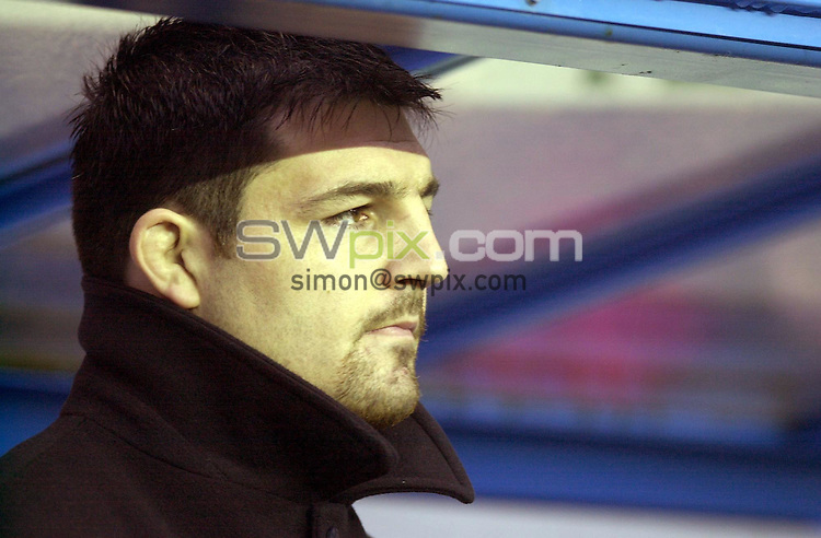 Pix: Matthew Lewis/SWpix.com. Rugby Union. Powergen Cup Quarter Final. London Irish v Gloucester. 20/01/2002...COPYWRIGHT PICTURE>>SIMON WILKINSON>>01943 436649>>..Gloucester's Olivier Azam watches the game against London Irish from the bench after his ban from the RFU..