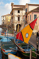 Traditional Sail Fishing Boats on Riva Vena canal - Chioggia - Venice - Italy