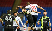 Bolton Wanderers' Darren Pratley vies for possession with Bury's Andrew Tutte<br /> <br /> Photographer Alex Dodd/CameraSport<br /> <br /> The EFL Sky Bet League One - Bolton Wanderers v Bury - Tuesday 18th April 2017 - Macron Stadium - Bolton<br /> <br /> World Copyright &copy; 2017 CameraSport. All rights reserved. 43 Linden Ave. Countesthorpe. Leicester. England. LE8 5PG - Tel: +44 (0) 116 277 4147 - admin@camerasport.com - www.camerasport.com