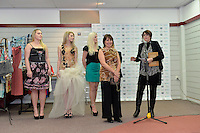 from left, Katie Rex, Allie O' Reagan, Kendell Baker, Zuhal Kuvan-Mills and Denise Anglesey, New Zealand Eco Fashion Exposed Opening Function at 151 High Street, Lower Hutt, New Zealand on Wednesday 23 July 2014. <br /> Photo by Masanori Udagawa. <br /> www.photowellington.photoshelter.com.