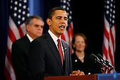 Chicago, IL - December 19, 2008 -- United States President-elect Barack Obama give a press conference to announce his nomination of  United States Representative Ray LaHood (Republican of Illinois) as Secretary of Transportation, left, and venture capitalist Karen Mills as Administrator, United States Small Business Administration (SBA), right, Friday afternoon, December 19, 2008 at the Drake Hotel in Chicago, Illinois.  Obama also nominated United States Representative Hilda Solis (Democrat of California) as Secretary of Labor and former Dallas Mayor Ron Kirk, as U.S. Trade Representative (USTR).Credit: Anne Ryan - Pool via CNP