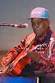 "David ""Honeyboy"" Edwards plays the blues at Bamfest  in Belleville Wisconsin on July 13, 2007 just south of Madison"