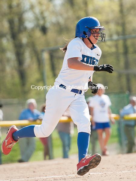 SOUTHINGTON, CT-7 May 2015-050715EC01-  Southington's Kaitlyn Paterson hits a triple Thursday against Torrington in Southington. Erin Covey Republican-American