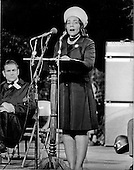 "Washington, D.C. - January 31, 2006 -- Coretta Scott King has passed away in Atlanta, Georgia at age 78.  This file photo, taken in Washington, D.C.  on October 15, 1969, shows Mrs. Martin Luther King, Jr. (Coretta Scott) addressing a mass rally on the grounds of the Washington Monument.  Mrs. King was one of the supporters of the nationwide moratorium for peace in Vietnam.  Following her speech, Mrs. King led a candlelight march from the monument past the White House where she lit a candle in honor of the United States dead in Vietnam..Credit: Benjamin E. ""Gene"" Forte - CNP"