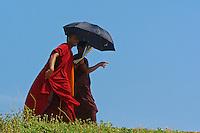 Buddhist Monks walking along the shoreline near t5ne old Dutch Fort of Galle, Sri Lanka
