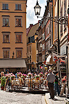 Square in the Old Town of Stockholm, Sweden with sidewalk cafes