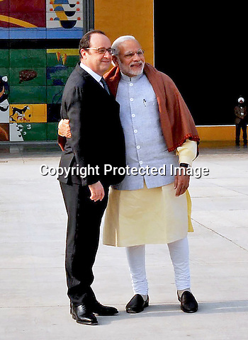 24.01.2016; Chandigarh, India: PRESIDENT HOLLANDE POSES WITH INDIAN PM MODI<br /> at Capitol Complex, in Chandigarh<br /> The French President in the guest of honour for the Republic Day celebrations on the 26th of January 2016.<br /> Mandatory Credit Photos: &copy;NEWSPIX INTERNATIONAL<br /> <br /> PHOTO CREDIT MANDATORY!!: NEWSPIX INTERNATIONAL(Failure to credit will incur a surcharge of 100% of reproduction fees)<br /> <br /> IMMEDIATE CONFIRMATION OF USAGE REQUIRED:<br /> Newspix International, 31 Chinnery Hill, Bishop's Stortford, ENGLAND CM23 3PS<br /> Tel:+441279 324672  ; Fax: +441279656877<br /> &quot;All fees payable to &quot;Newspix International&quot;<br /> e-mail: info@newspixinternational.co.uk