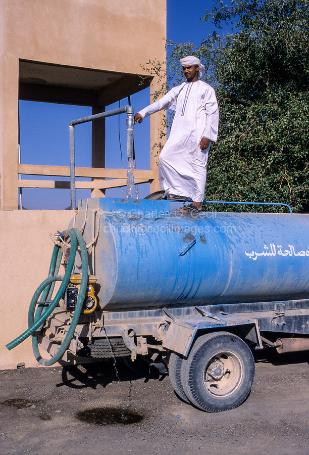 Jabrin, Oman.  Loading Drinking Water for Residential Delivery.