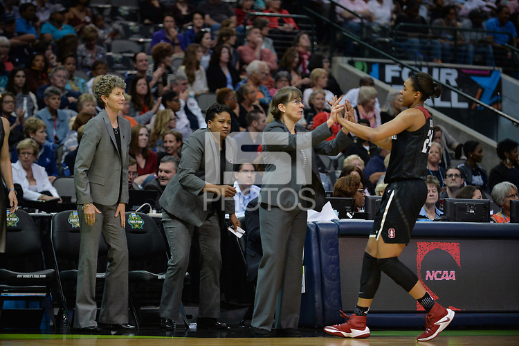 Dallas, TX - Friday March 31, 2017: Tara Vanderveer, Erica Mccall during the NCAA National Semifinal Game between the women's basketball teams of Stanford and South Carolina at the American Airlines Center.