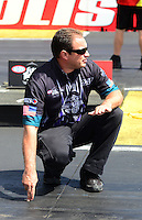 Sept 9, 2012; Clermont, IN, USA: NHRA crew chief Matt Hines for pro stock motorcycle rider Eddie Krawiec during the US Nationals at Lucas Oil Raceway. Mandatory Credit: Mark J. Rebilas-