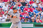 30 August 2015: Miami Marlins infielder Miguel Rojas pinch hits in the 7th inning against the Washington Nationals at Nationals Park in Washington, DC. The Nationals rallied to defeat the Marlins 7-4 in the third game of their 3-game weekend series. Mandatory Credit: Ed Wolfstein Photo *** RAW (NEF) Image File Available ***