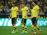 Fussball 1. Bundesliga :  Saison   2012/2013   8. Spieltag  20.10.2012 Borussia Dortmund - FC Schalke 04 Neven Subotic, Lukasz Piszczek und Mats Hummels (v. li., Borussia Dortmund)
