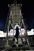 A photographer climbs the ladder to the center photo platform in the pre-dawn hours as Washington readies for the inauguration of President-elect Donald Trump at the Capitol on January 20, 2017 in Washington, D.C. Trump becomes the 45th President of the United States. <br /> Credit: Pat Benic / Pool via CNP
