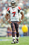 25 September 2005: Michael Vick (7), Quarterback for the Atlanta Falcons, watches the play unfold from the backfield during a game against the Buffalo Bills. The Falcons defeated the Bills 24-16 at Ralph Wilson Stadium in Orchard Park, NY.<br /><br />Mandatory Photo Credit: Ed Wolfstein.