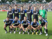 Earthquakes Starting XI pose together for group photo before the game against the Crew at Buck Shaw Stadium in Santa Clara, California on June 2nd, 2010.  San Jose Earthquakes tied Columbus Crew, 2-2.