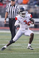 Towson, MD - September 9, 2016: St. Francis (Pa) Red Flash wide receiver Junior Ajayi (3) runs the ball during game between Towson and St. Francis at Minnegan Field at Johnny Unitas Stadium  in Towson, MD. September 9, 2016.  (Photo by Elliott Brown/Media Images International)