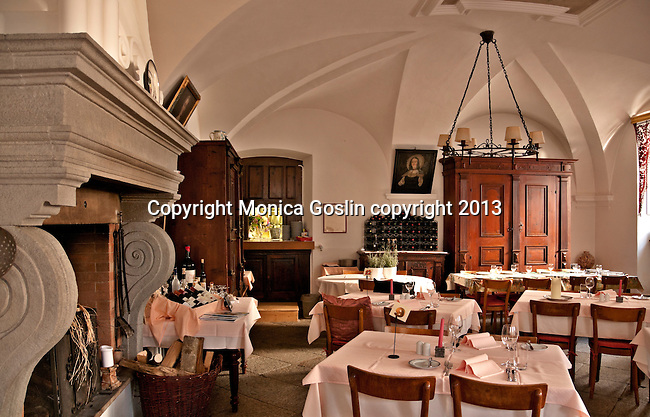 Dining room at the Hotel Palazzo Salis built in 1630 by the knight Battista; Soglio a mountain valley town in the Graubunden Canton of Switzerland
