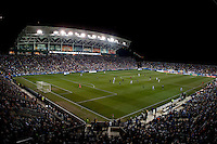PPL Park is lit up during the game in Chester, PA.  The MLS All-Stars defeated Chelsea, 3-2.