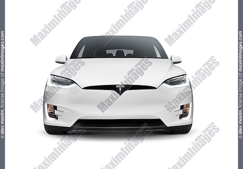 White 2017 Tesla Model X luxury SUV electric car front view isolated on white background