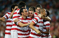 Wanderers players react after scoring during his A-League match against Wanderers in Sydney, March 8, 2014. VIEWPRESS/Daniel Munoz EDITORIAL USE ONLY