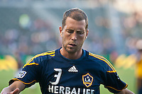CARSON, CA – August 20, 2011: LA Galaxy defender Gregg Berhalter (3) prior to the match between LA Galaxy and San Jose Earthquakes at the Home Depot Center in Carson, California. Final score LA Galaxy 2, San Jose Earthquakes 0.