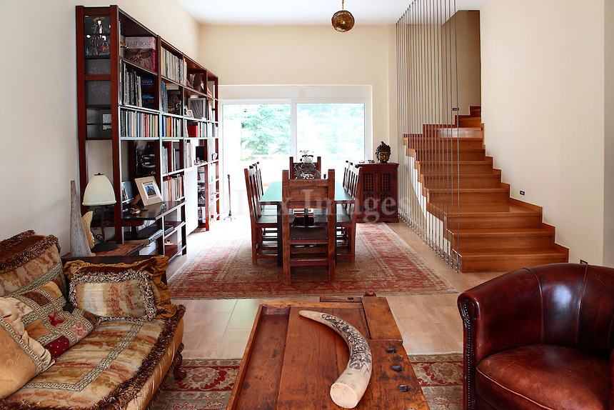 neoclassical living room with dining set